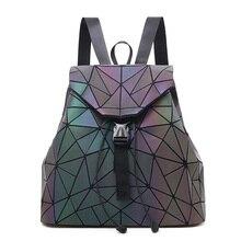цена на Women Backpack Luminous School Bags Fashion Backpacks For Teenage Girl Famous Brand Geometry Backpack School Holographic Mochila