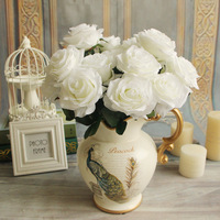 1 Bouquet Artificial Flower 9 Heads Rose DIY Fake Silk Flowers For Home Table Wedding Party