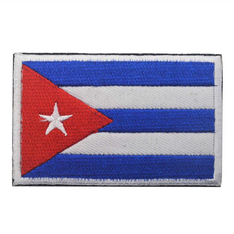 AHYONNIEX 1 ADET 3D Işlemeli Fas Küba Nijerya Sırbistan bayrağı yama Taktik Askeri dikmek bayrak kot için yama giysi çanta