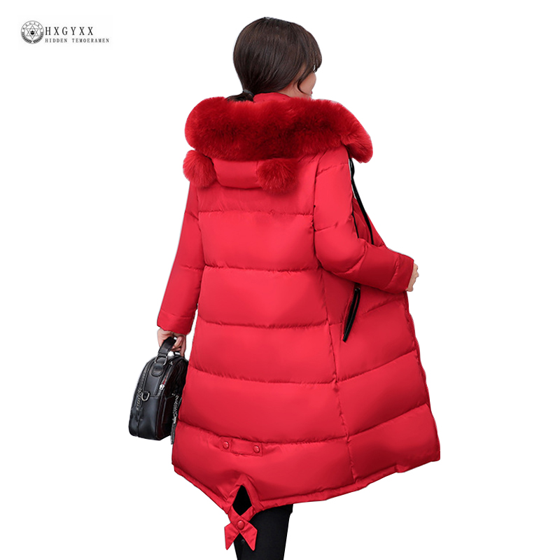 Winter Jacket Female 2017 New Arrival Large Fur Hooded Thick Warm Cotton Coat Long Parkas Plus Size 4XL Wadded Outerwear OK1025 2016 new hot winter thick warm woman coat cotton wadded jacket parkas slim luxury hooded fur collar long plus size 3xxxl cold