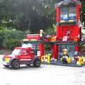 Nueva Original Kazi Ciudad Estación de Protección Contra Incendios 300 unids/set bloques de Construcción Ladrillos Juguetes Compatible con Lego Bombero de Rescate