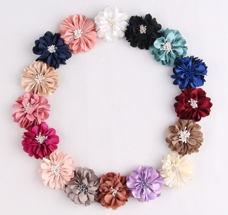 120pcs lot High Quality Fabric Fold Matt Flowers Artificial Chiffon Flower With Commelina DIY Flatback