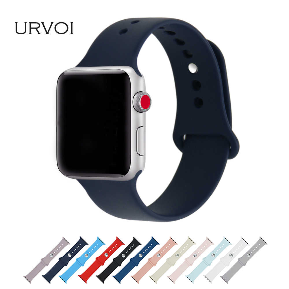 URVOI Silicone band for apple watch series 4 3 2 1 strap for iWatch Sport band replacement pin-and-tuck closure official colors