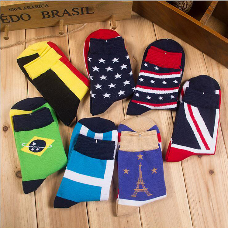 Cotton Mens Korean Fashion Casual Cotton Stockings Flag Influx of People Men In Tube Socks