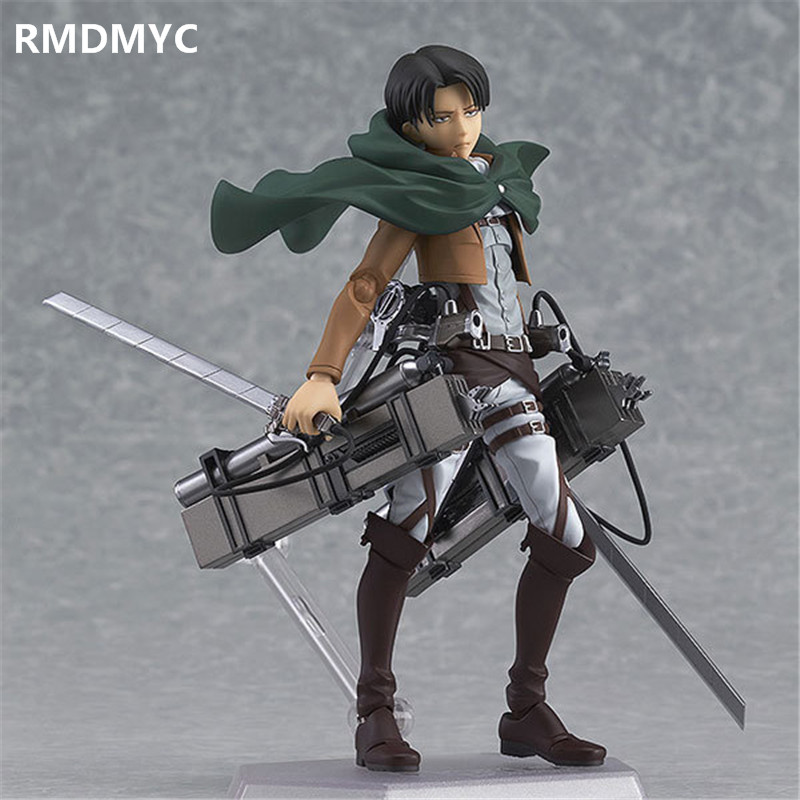 RMDMYC 15CM Anime Attack on Titan Action Figure Toys Figma Battle State Mikasa Ackerman  Levi  Eren Jaeger PVC Collectible Doll  недорого