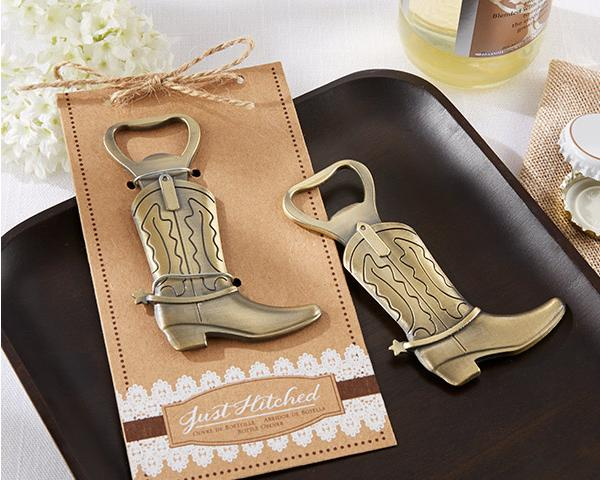 The guests present Just Hitched Cowboy Boot Bottle Opener Shoes open bottle opener European wedding Favor and gift 20PCS