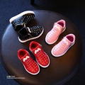 YNB  2016 kids pu boots girls shoes with rhinestone, children girl casual shoes Autumn girls sneakers red balck blue