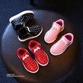 YNB 2016 niños de la pu botas niñas zapatos con diamantes de imitación, muchacha de los niños zapatos casuales Otoño de las muchachas de las zapatillas de deporte azul balck rojo