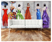 2695 europe and the united states burst skull dj creative personality living room bedroom tv background decorative wall beibehang 3D Wallpaper Europe and the United States Evening Dress Lady painting TV background wall wallpaper for walls 3 d