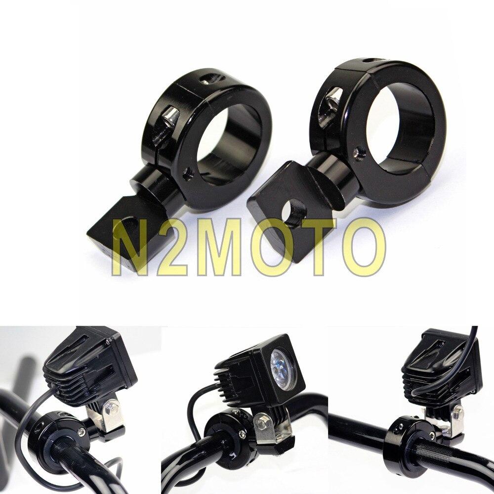 Black Motorcycle Fog Light Holder 1