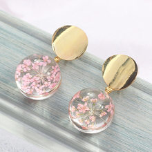 New Metal Sequins Round Earrings Transparent Glass Ball Flowers Dangle Drop Earrings For Women Fashion Jewelry Oorbellen Brincos(China)