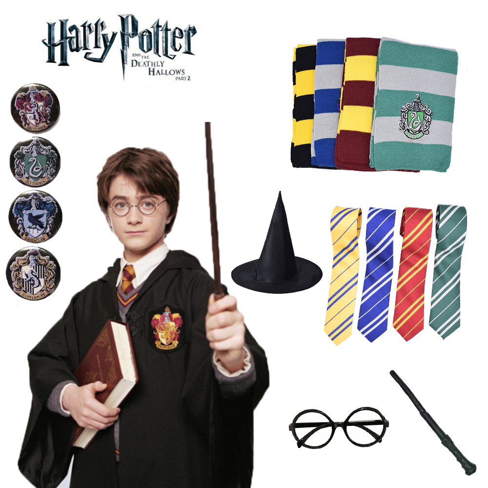 Harry Potter Robe Cape Cloak With Tie Scarf Wand Glasses Ravenclaw Gryffindor Hufflepuff Slytherin Costume Harri Potter Cosplay
