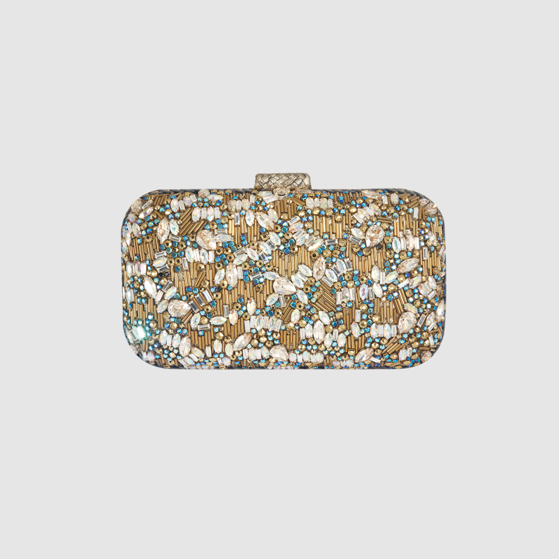 LOCAL FOCAL EMBROIDERY FASHION EVENING BAGS local focal handmade embroidery beads black pu clutches