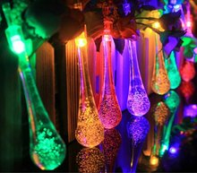 LED Solar Christmas Lights  Waterproof Water Drop Fairy String Garden Decoration Battery Light