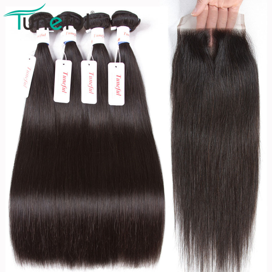 Brazilian Straight Hair 4 Bundles With Closure Tuneful Hair Weft Weave Extensions Non Remy Virgo Human Hair Bundles With Closure