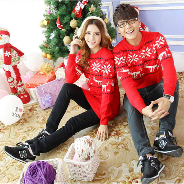 f82bc07acf0b3 Christmas Sweaters For Men And Women Couples Reindeer Snow Flake His And  Hers Lovers Couple Matching Clothes Autumn Winter