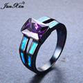 JUNXIN Rectangle AAA Purple Zircon Stone Rings For Women Men Black Gold Filled Wedding Party Blue Fire Opal Ring Birthday Gift