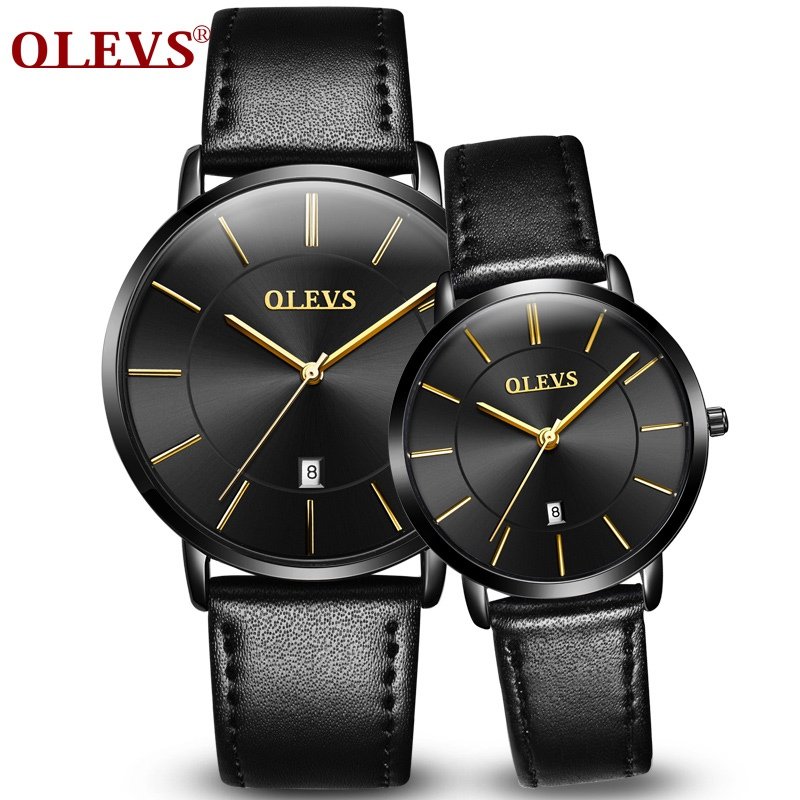 2017 Sport Couple Watch OLEVS Top Brand Luxury Men and women watches Auto Date Wristwatch Leather Clock Lover's Watch Black
