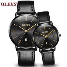 2018 Sport Couple Watch OLEVS Top Brand Luxury Men and Women Watches Auto Date Wrist watch Leather Clock Lover's Watch Black