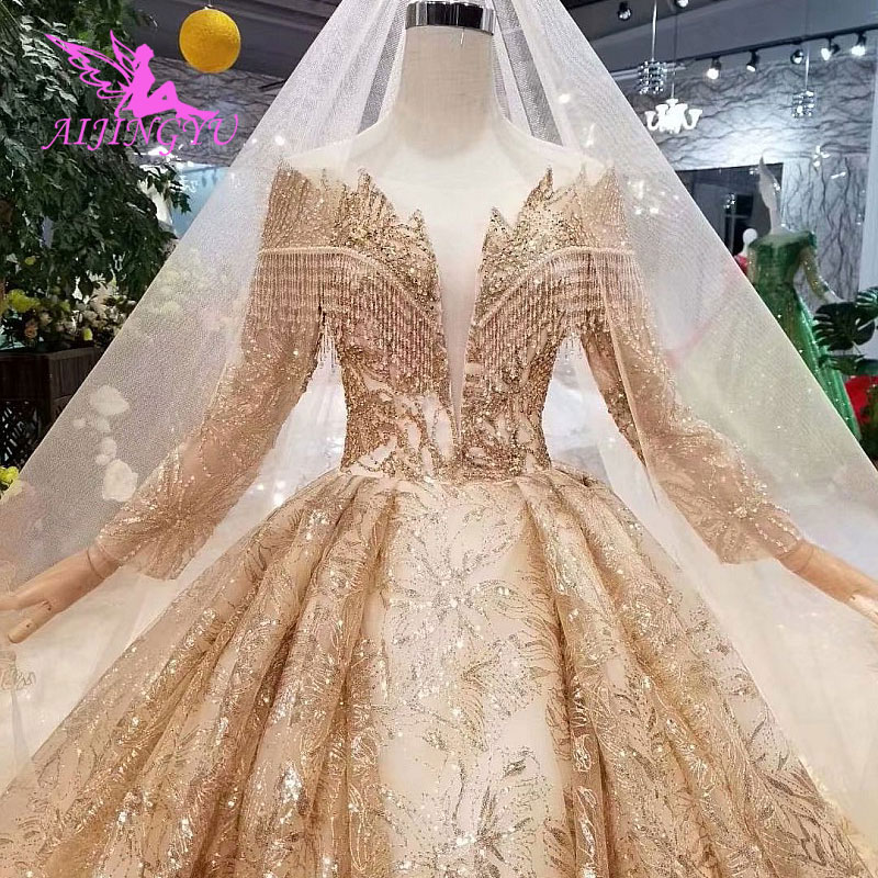 Image 3 - AIJINGYU Hand Wedding Indian Gown Lace With Long Train Crystal Boutiques Sexy Sale Plus Size Gown 2018 Bridal Party DressesWedding Dresses   -