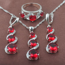 Unique Red Zirconia White CZ Women's Silver Color Jewelry Sets Necklace Pendant Earrings Ring Free Shipping TZ0139