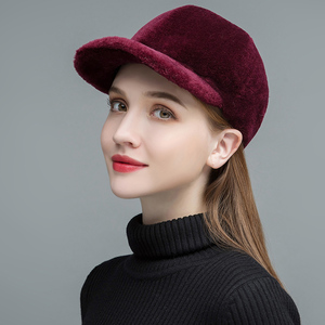 Image 5 - Gours Womens Fur Hats Real Sheep Shearing Caps Cotton Lining Warm In Winter Fashion Black Wool Visors New Arrival GLH023