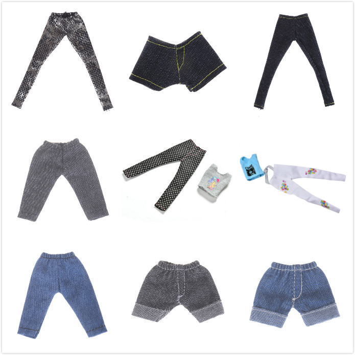 1/12 Doll Leggings Tops Elastic Leather Bottoms Jeans Pants Trousers For Girl Doll Clothes Outfit For 1/6 BJD Dolls Accessories