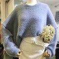 Зима большой размер женщин свободные длинным рукавом глава Норки свитер женщины повседневная плюс размер серый синий пуловеры свитер пальто 4xl 5xl