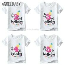 T-Shirt Baby Happy-Birthday-Number Girls Kids Summer Print White HKP2432