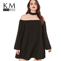 Kissmilk Plus Size Women Clothing Casual Solid Chiffon Dress Slash Neck Loose Short Dress Long Sleeve