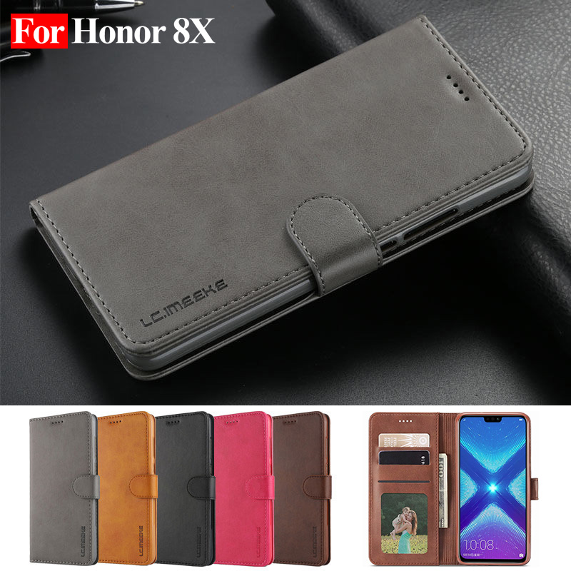 Details about Honor 8X Case Leather Vintage Wallet Huawei Flip Magnetic  Coque Card Slot