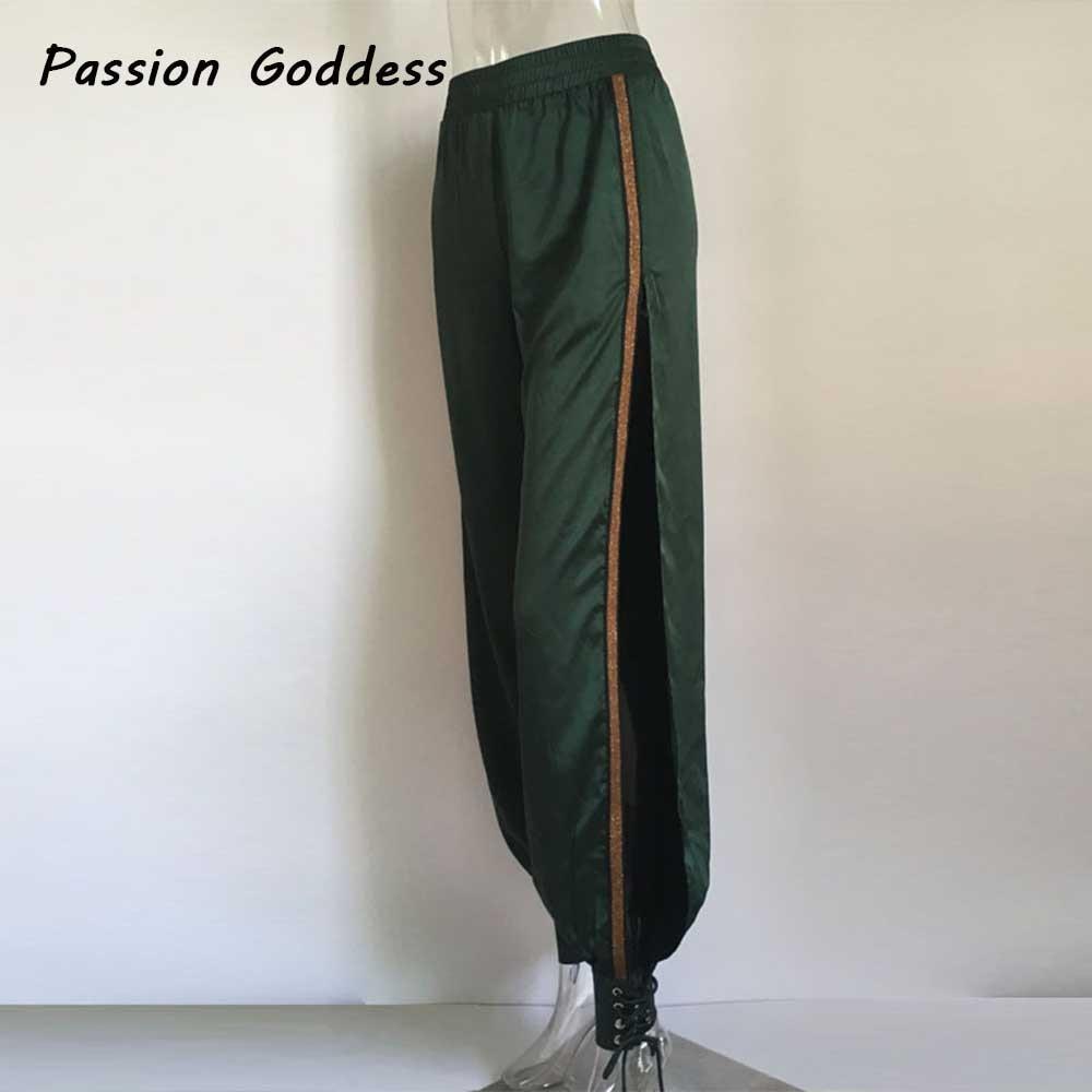 Side Spilt Plus Size Satin Pants Bandage Lace Up 5