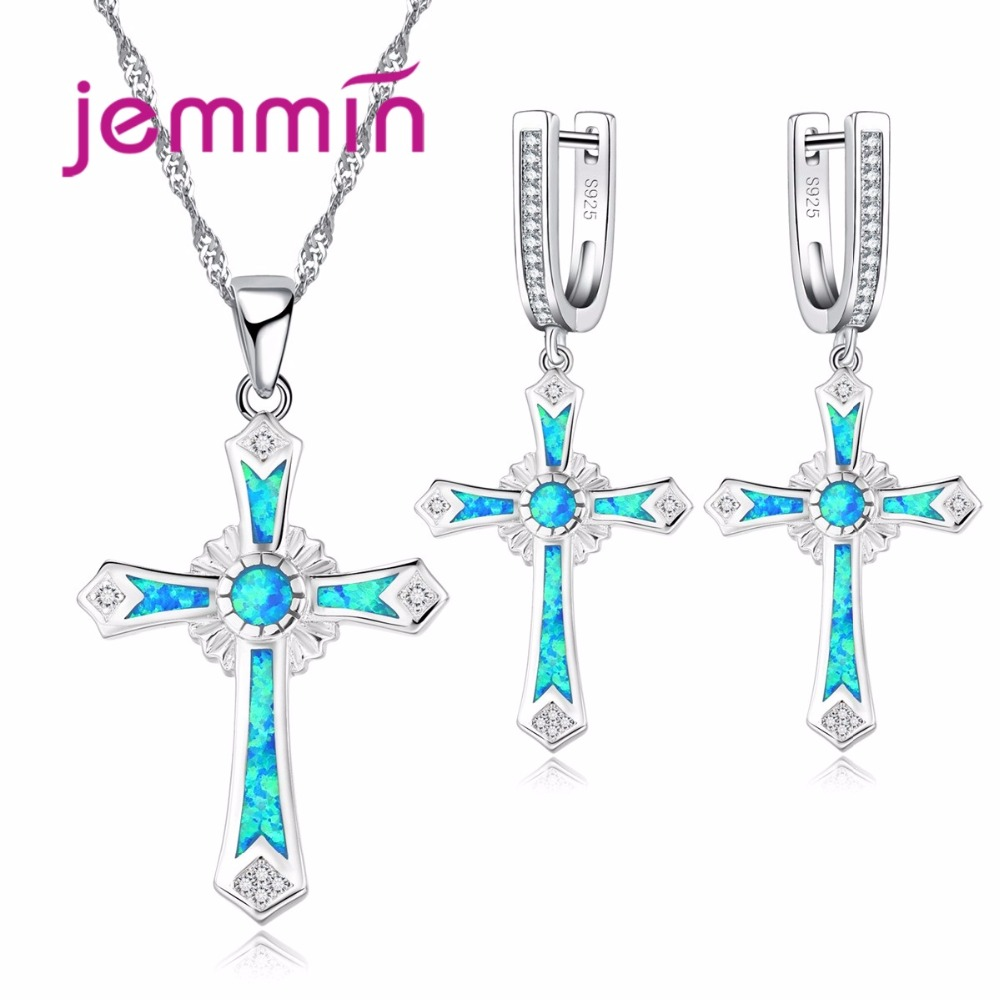 Jemmin Luxury Blue Fire Opal Cross Jewelry Set for Women and Girls Birthday Gift 925 Sterling Silver Pendant Necklace Earrings stylish faux opal rhinestone waterdrop necklace and a pair of earrings for women