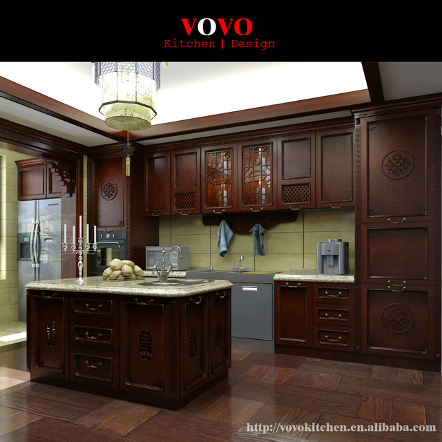 Buy china kitchen cabinet factory dark for Chinese kitchen cabinets