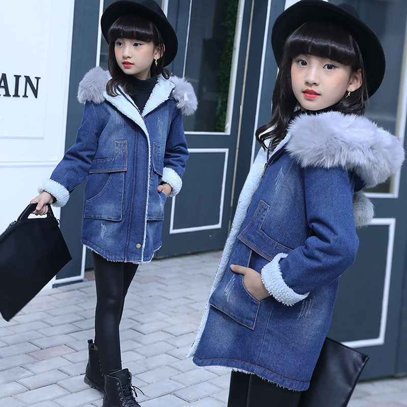 2017 Winter Children Denim Jacket Baby Girls Long Fleece Trench Kids Girl Thicken Coat Hooded Jacket Coat Girls Clothing 4-15Y denim self tie waist long sleeves hooded trench coat