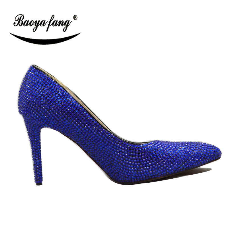... Toe women platform shoes. . BaoYaFang Royal Blue Orange Crystal  Wedding Shoes With Macthing Bags 11cm High heels Pumps Pointed. sku   32853460750 41d37a4cbfa2