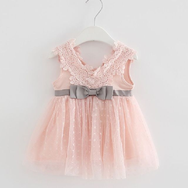 587d96441a3a8 US $12.14 18% OFF|Retail 2019 summer newborn V neck bow lace princess  infant dress baby girls dress Honey Baby clothes ball gown 3 color-in  Dresses ...