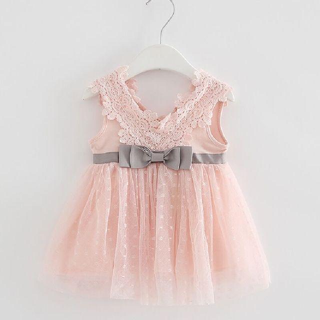 Varejo verão recém nascido com decote em v laço princesa vestido infantil bebê meninas vestido mel roupas de bebê vestido de bebê