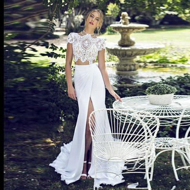 Short Sleeve Lace Wedding Dresses 2016 Chiffon Simple: New 2016 Boho Chiffon A Line Wedding Dresses Short Sleeves
