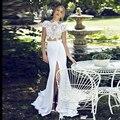 Novo 2016 Boho Chiffon Uma Linha de Vestidos de Casamento Mangas Curtas Rendas Frente Dividir vestido de Duas Peças Vestidos de Noiva do casamento de praia