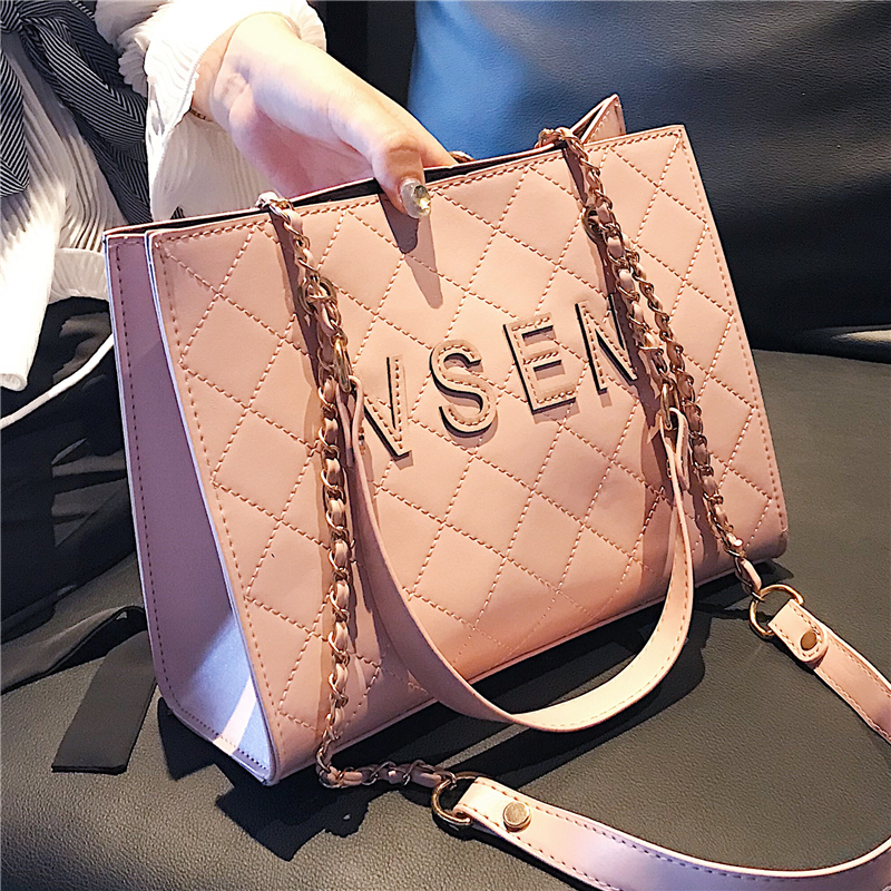 British Fashion Women's Designer Handbag 2018 New High Quality PU Leather Women Bag Lattice Chain Tote Shoulder Crossbody Bags