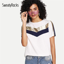 SweatyRocks Colorblock Weiß T-shirts Streetwear Kurzarm Mode Stretchy T hemd 2019 Sommer Casual Frauen Grundlagen Tops(China)