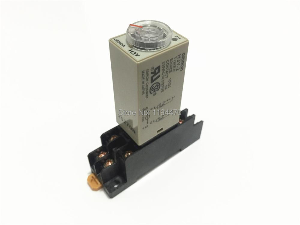 2 sets/Lot H3Y-2 AC 220V 60S Power On Delay Timer Time Relay 220VAC 60sec 0-60 second  DPDT 8 Pins With PYF08A Socket Base стоимость
