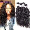 4 pacotes 7A Malaio Virgem Ali Cabelo Encaracolado Frete Grátis Moda Malásia Profunda Curly Weave Do Cabelo Humano # 1B Virgem Malaio cabelo