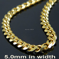 5mm 45cm-90cm 316L Stainless Steel Curb Curban Chain Necklace Fashion Gold Necklace For Man Women Fashoin Jewelry