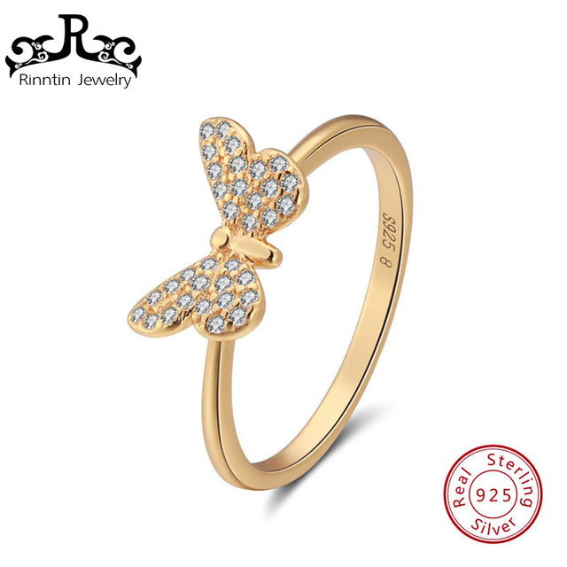 Rinntin 925 Sterling Silver Rings For Women Classic Butterfly Shape Prong Setting AAA Zircon Gift Fashion Fine Jewelry TSR59-G