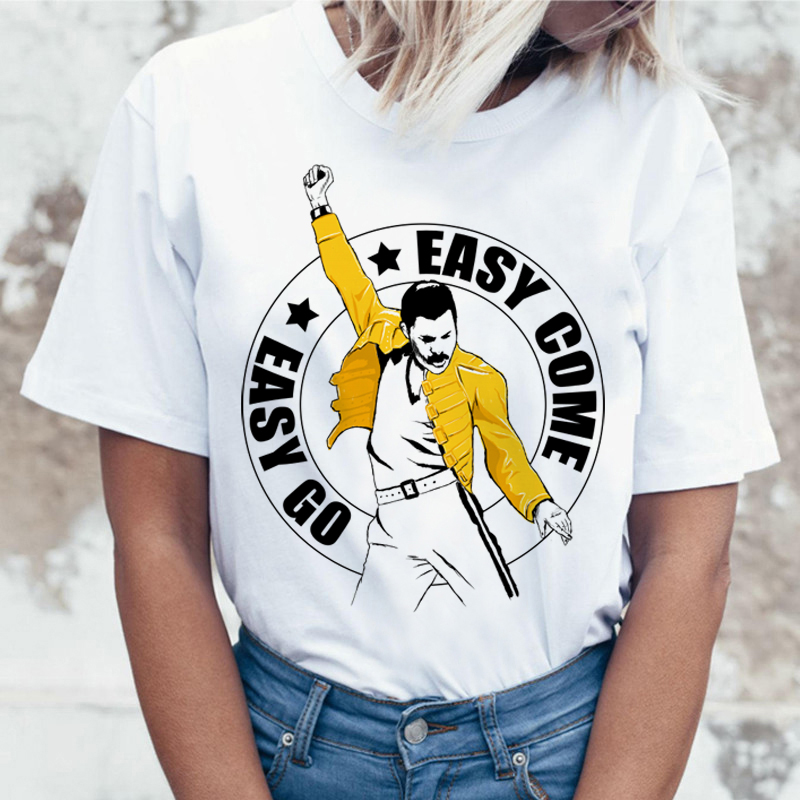 Freddie Mercury Queen Band Harajuku T Shirt Women Vintage Ullzang T-shirt Fashion Hiphop Tshirt 90s Graphic Rock Top Tee Female