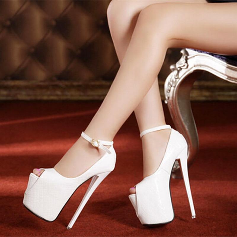 цены  19CM Heel Height Sexy Peep Toe Stiletto Heel Pumps Platform Party Shoes heels US Size 4-8 No.020-5