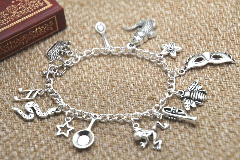 12pcs Princess and the Frog inspired bracelet  Crown Spoon Alligator Flower Mardi Gras mask  charm bracelet