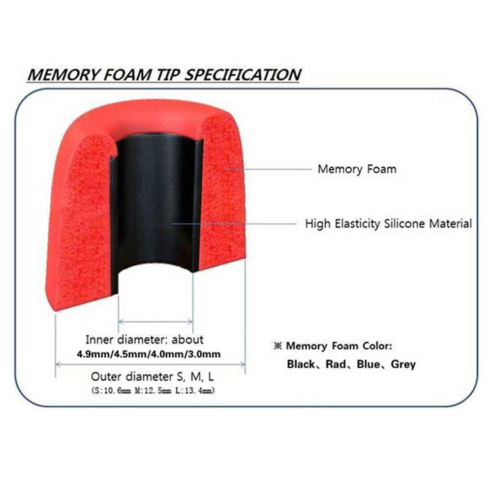 1Pair Morbida Gomma Piuma di Memoria Auricolari Paraorecchie T100/T200/T300/T400 S/M/L Dimensioni isolamento del rumore Auricolari per Auricolare In-Ear Accessori